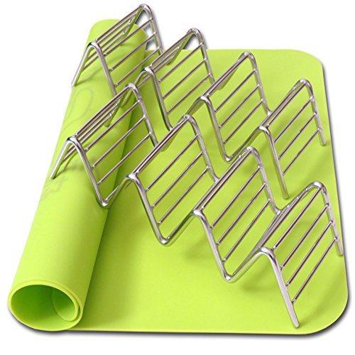 2-Taco-Holders-and-Silicone-Mat-by-AT-Best-Stainless-Steel-Taco-Rack-Tray-Grill-Oven-and-Dishwasher-Safe-Taco-Shell-Stand-Silicone-Nonstick-Baking-Green-Mat-Exclusive-Taco-Recipes-e-Book-0