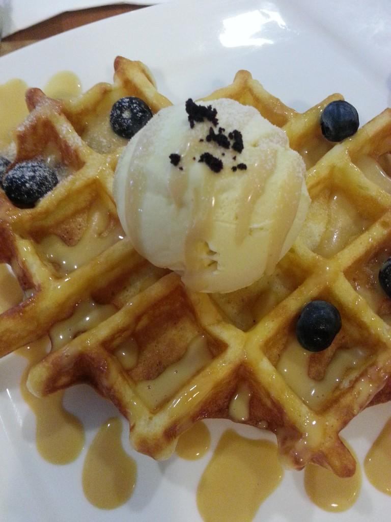 Pandan Ice Cream with Gula Melaka Whoa'ffles