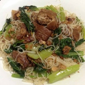 fried bee hoon with stewed pork chops recipe