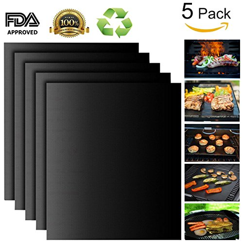 Grill-Mat-Set-of-5-Non-Stick-BBQ-Grill-Mats-PTFE-Teflon-Baking-sheets-Heavy-Duty-Reusable-and-Dishwasher-Safe-Easy-Clean-and-Easy-Use-on-Gas-Charcoal-Electric-Grill-Black-0