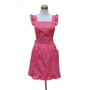 Hyzrz-Hot-Lovely-Girls-Red-Dot-Kitchen-Flirty-Canvas-Restaurant-Cake-Apron-for-Women-Chef-Bib-Red-0