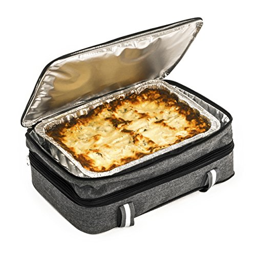 Insulated Expandable Double Casserole Carrier And Lasagna