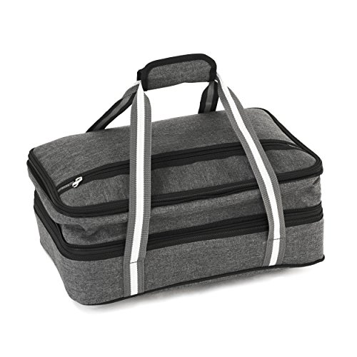 Insulated-Expandable-Double-Casserole-Carrier-and-Lasagna-Holder-for-Picnic-Potluck-Beach-Day-Trip-Camping-Hiking-Hot-and-Cold-Thermal-Bag-in-Gray--Tote-can-hold-11-x-15-or-9-x-13-baking-dish-0