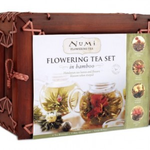 Numi-Organic-Tea-Flowering-Gift-Set-in-Handcrafted-Mahogany-Bamboo-Chest-Glass-Teapot-6-Flowering-Tea-Blossoms-0