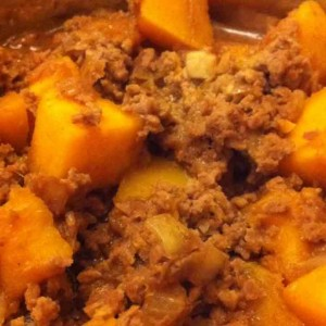 pumpkin with minced pork meat