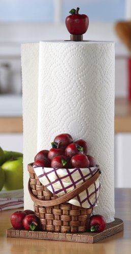 Red apple kitchen paper towel holder foodclappers - Fruit kitchen decorating theme ...
