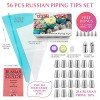 Russian-Piping-Tips-Cake-Decorating-Supplies-Kit-56-pcs-Baking-Supplies-Set-with-21-Russian-Flower-Tips-Icing-Nozzles-Couplers-and-Bags-best-Kitchen-Gift-0-0